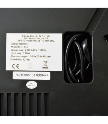 Vakuumpakker F210 Sort Allvac